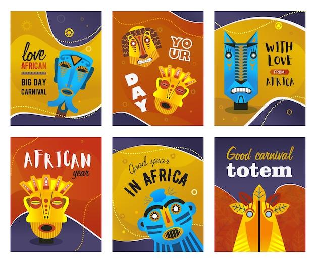 Afrikanische grußkarten gesetzt. ethnische stammesmasken, traditionelle totemvektorillustrationen mit text. kreativer entwurf für karnevalsflieger oder einladungskarten der ethnischen partei