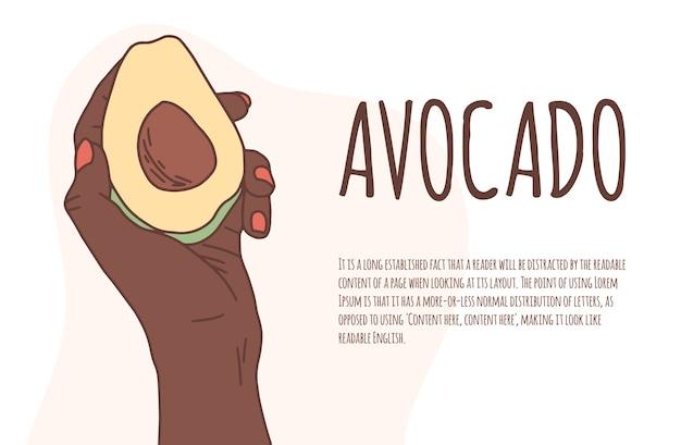 Afrikanische hand hält eine avocado auf einem isolierten hintergrundvektorbanner