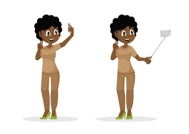 Afrikanische junge hübsche frau, die selfie nimmt.