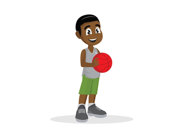 Afrikanische jungen, die basketball spielen.