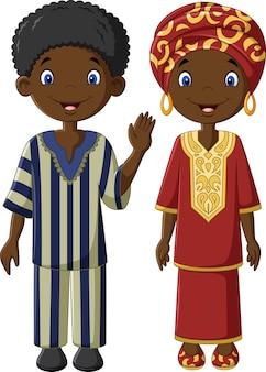 Afrikanische kinder mit traditionellen kostümen