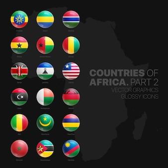 Afrikanische länder-flaggen-glänzende runde icons set auf schwarzem hintergrund teil zwei