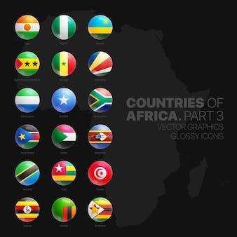 Afrikanische länder flaggen glossy round icons set