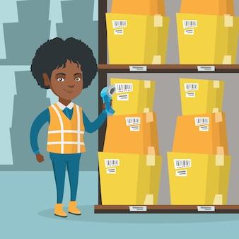 Afrikanische lagerarbeitskraft, die barcode auf kasten scannt.