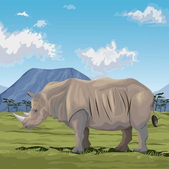 Afrikanische landschaft der bunten szene mit der nashornstellung