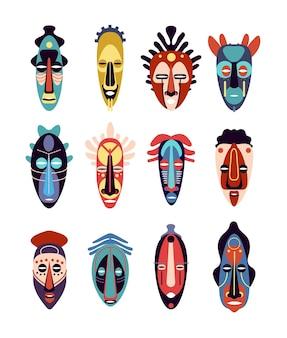 Afrikanische maske. bunte ethnische stammesritualmasken verschiedener formen