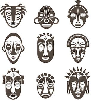 Afrikanische masken gesetzt