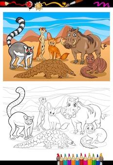 Afrikanische säugetiere cartoon malbuch