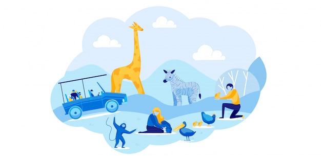 Afrikanische safari-autotour und streichelzoo im freien