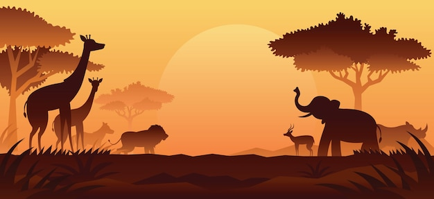 Afrikanische safari-tiere silhouette hintergrund, sonnenuntergang oder sonnenaufgang
