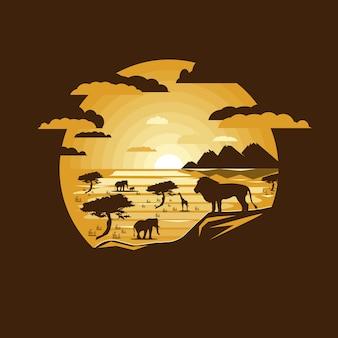 Afrikanische savannenlandschaft der illustration mit wilden tieren. negativer raum.