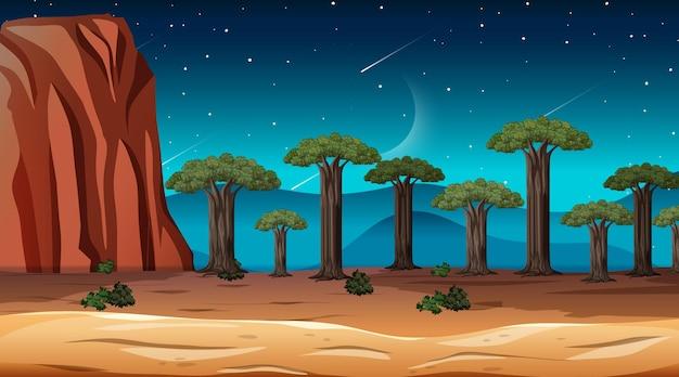 Afrikanische savannenwaldlandschaftsszene bei nacht