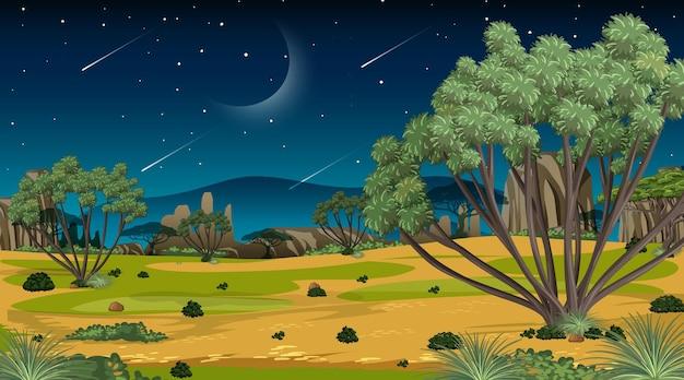Afrikanische savannenwaldlandschaftsszene nachts