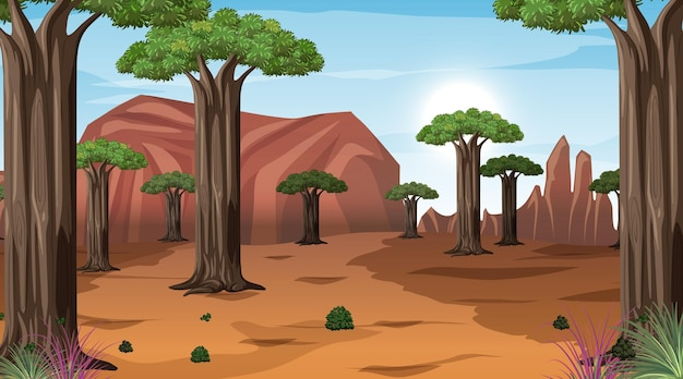 Afrikanische savannenwaldlandschaftsszene zur tageszeit