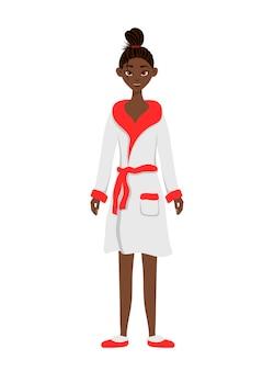 Afrikanische schönheitsfrau, die in einem bademantel steht. cartoon-stil. vektorillustration.