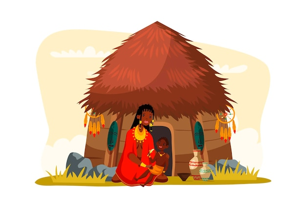 Afrikanische stammesfrau mit kind, das bananenfamilie isst, die nahe hütte sitzt