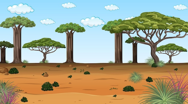 Afrikanische waldlandschaft tagsüber szene mit vielen großen bäumen