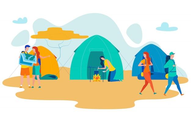 Afrikanische wüsten-campingplatz-flache vektor-illustration