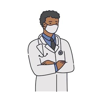 Afrikanischer arzt im weißen kittel, der medizinische schutzmaske trägt