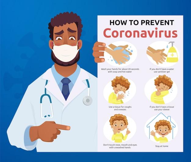 Afrikanischer arzt in maske - coronavirus-infografik