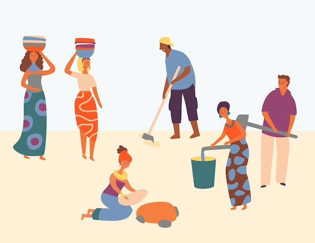 Afrikanischer charakter fleißiger set-design-stil. frauen tragen korb auf dem kopf. mann pflügt feld. menschen gewinnen wasser im eimer. alle waren zufrieden mit der arbeit und halfen der gemeinschaft. flache karikatur-vektor-illustration