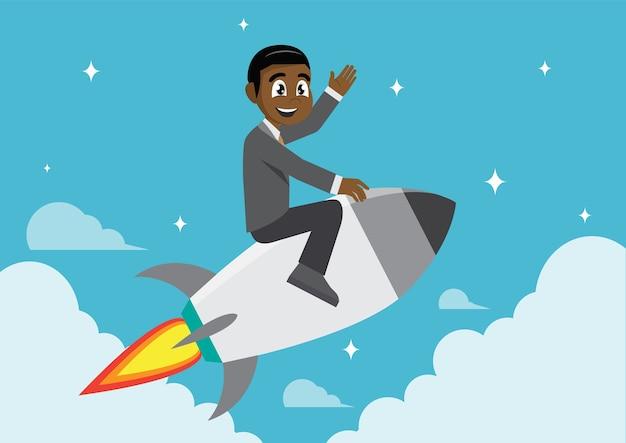 Afrikanischer geschäftsmann auf einer rakete.