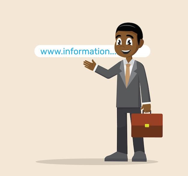 Afrikanischer geschäftsmann, der auf websiteadresse zeigt.