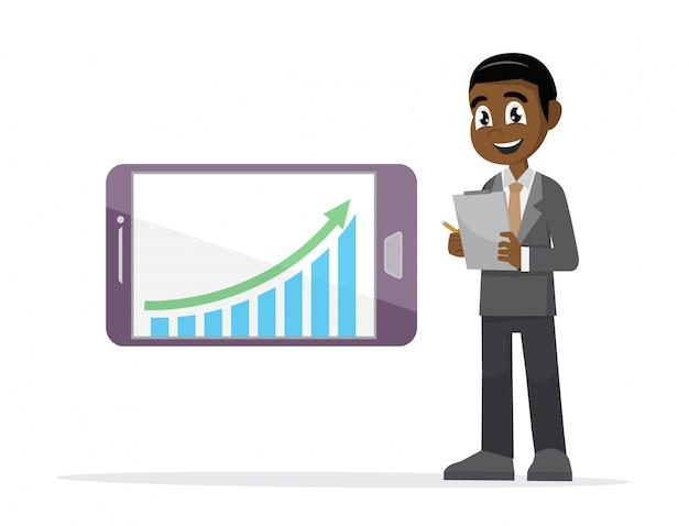 Afrikanischer geschäftsmann, der diagramm in einem smartphone überprüft.
