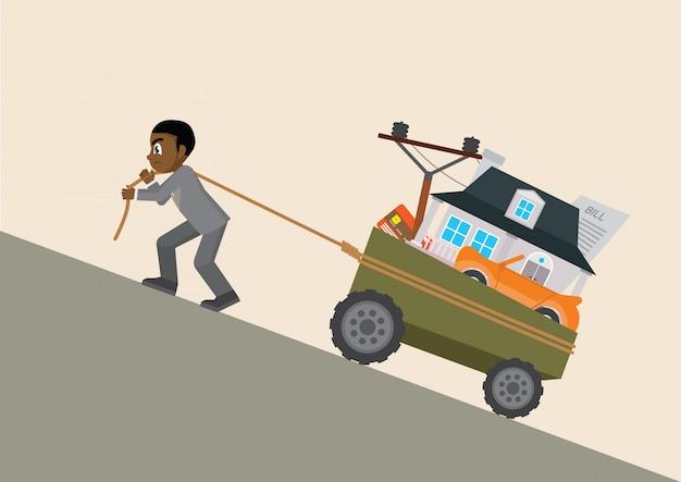 Afrikanischer geschäftsmann, der einen wagen mit schuld zieht.