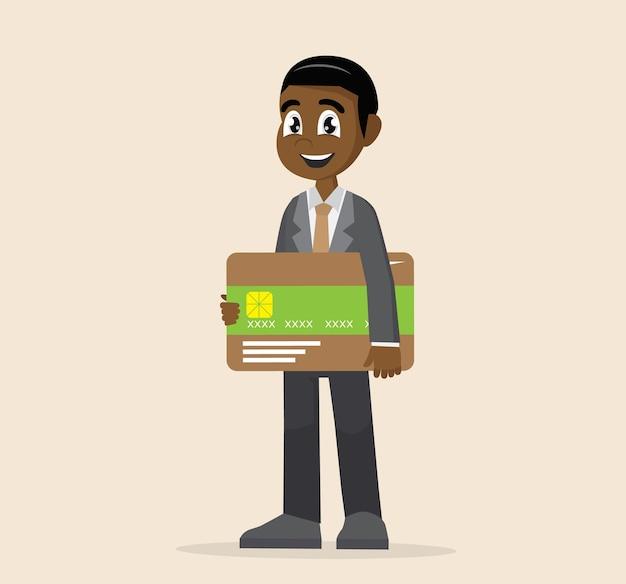 Afrikanischer geschäftsmann, der kreditkarte hält.