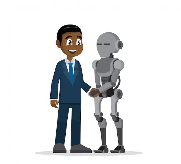 Afrikanischer geschäftsmann, der roboterhand rüttelt.