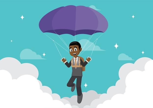 Afrikanischer geschäftsmann mit fallschirm.