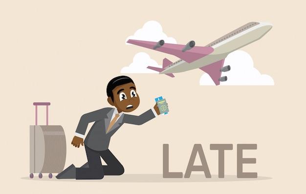 Afrikanischer geschäftsmann spät für einen flug.