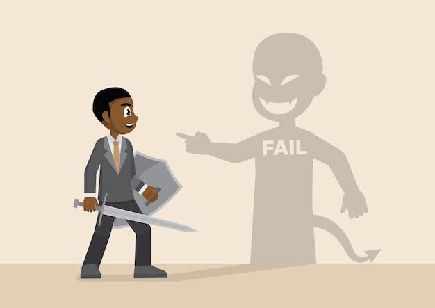 Afrikanischer geschäftsmannkampf mit schatten des misserfolgs.