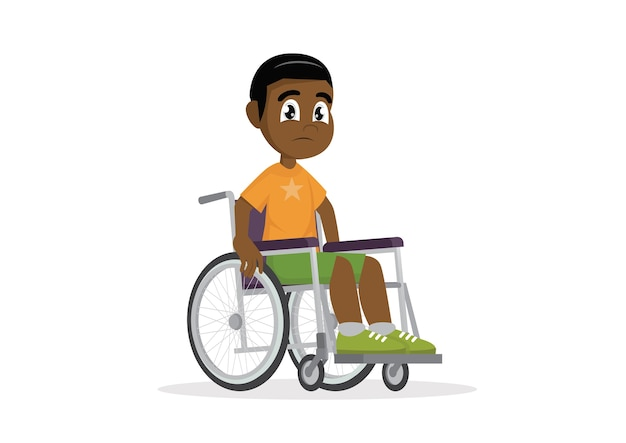 Afrikanischer junge, der auf einem rollstuhl sitzt.