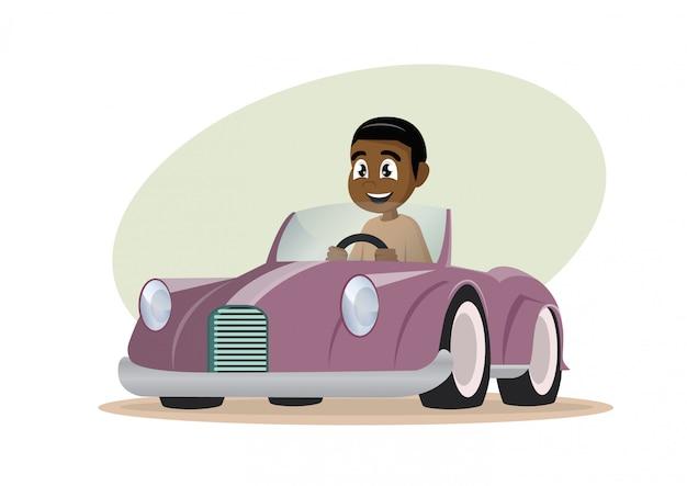 Afrikanischer junge, der auto fährt.