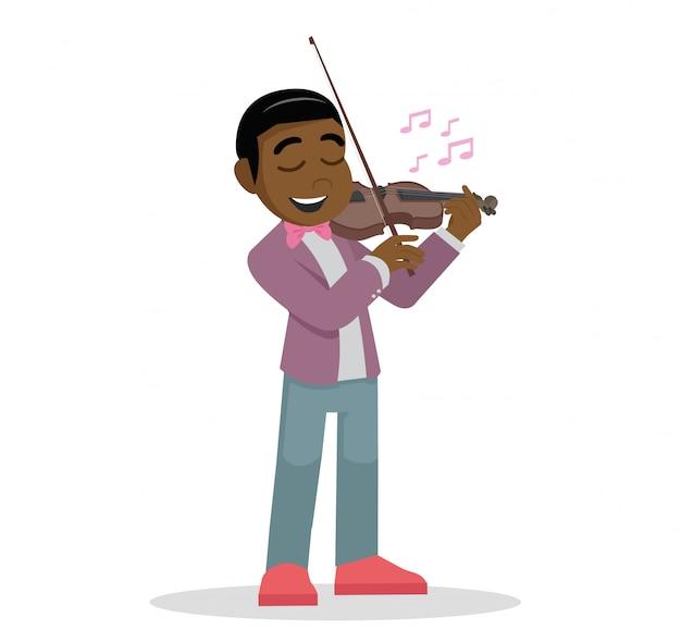 Afrikanischer junge, der die violine spielt.