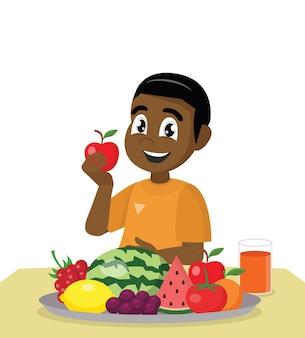 Afrikanischer junge, der frische gesunde fruchtvektor eps10 isst