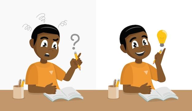 Afrikanischer junge der glücklichen schule, der probleme mit seinen hausaufgaben hat und hart denkt