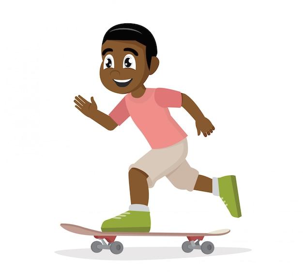 Afrikanischer junge, der skateboard spielt.