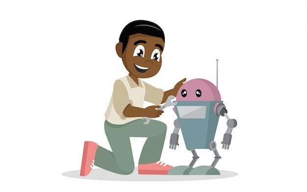 Afrikanischer junge, der spielzeug roboter repariert.