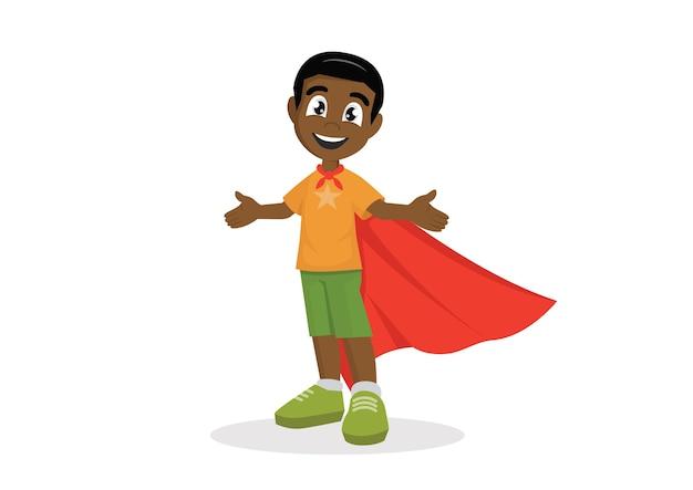 Afrikanischer junge im superheldkostüm.