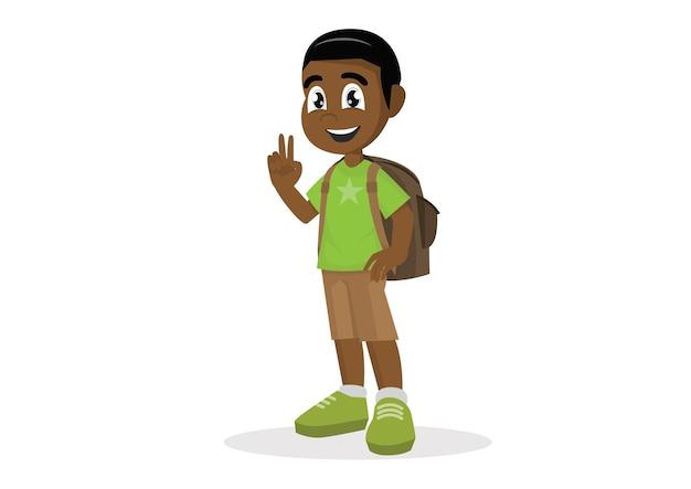 Afrikanischer junge mit einer schulranzenshow zwei finger