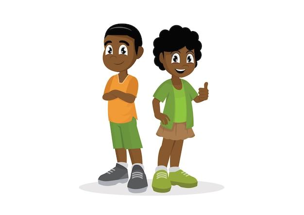Afrikanischer junge und mädchen.