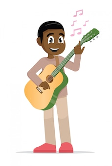 Afrikanischer mann, der gitarre spielt.