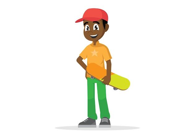 Afrikanischer mann, der skateboard hält.