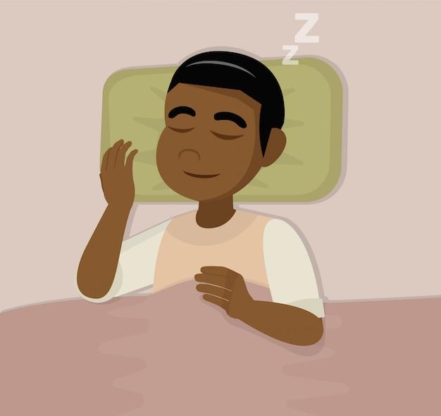 Afrikanischer mann schläft im bett.