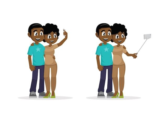 Afrikanischer mann und frau werden zusammen fotografiert