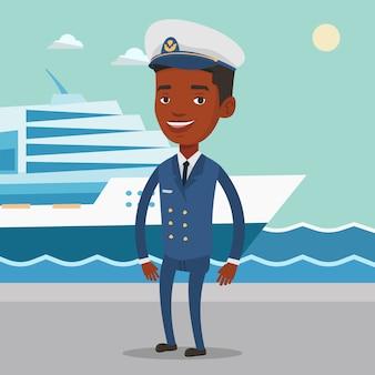 Afrikanischer schiffskapitän in uniform am hafen.