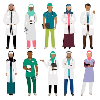 Afrikanischer schwarzer doktor und arabischer frau pflegen den lokalisierten charaktervektor